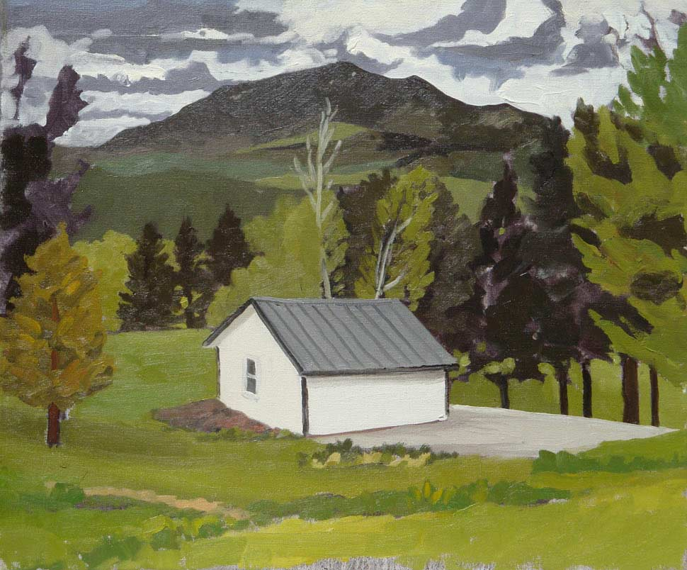 Peter Ligon - White Shed with Mountain