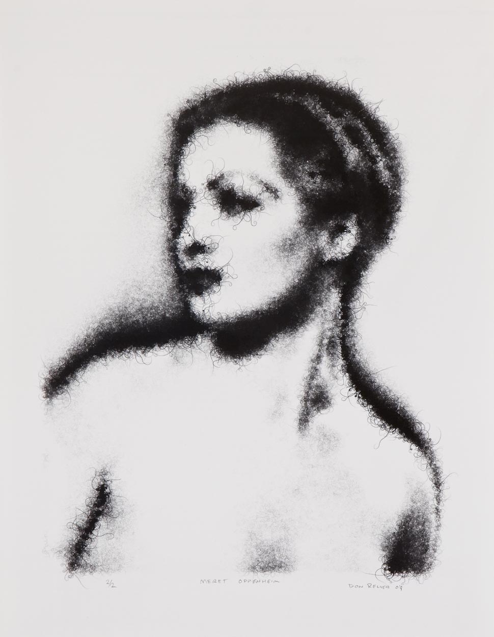 Don Relyea - Hair Particle Sketch of Meret Oppenheim