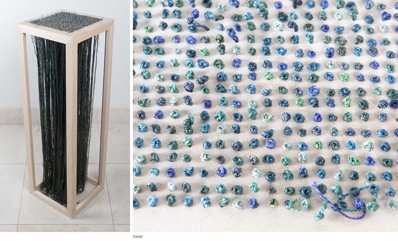 Megan Bowdon - Embroidered French Knots in Shades of Blue-Green