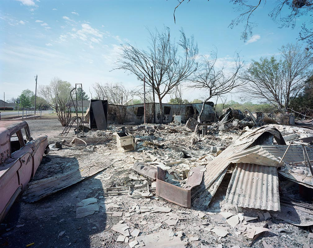Luther Smith - Wildfire, Burnt Homes, Car, Montague County, Texas, April 2009
