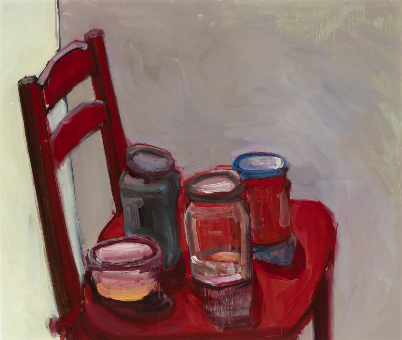 Olga Romanova - Four Jars on a Red Chair