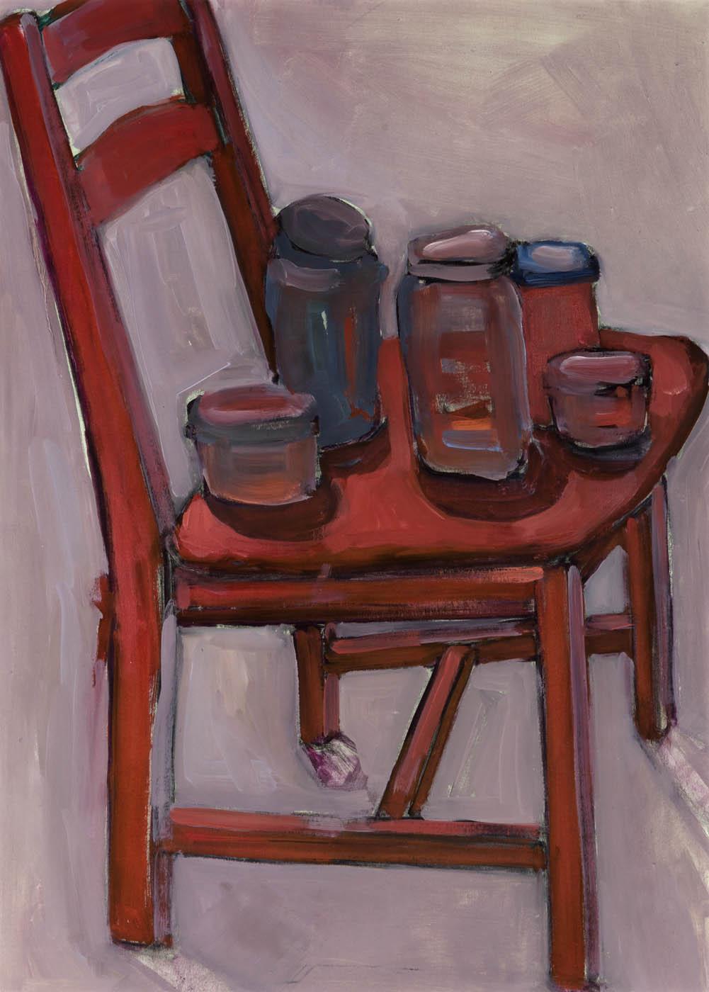 Olga Romanova - Five Jars on a Red Chair