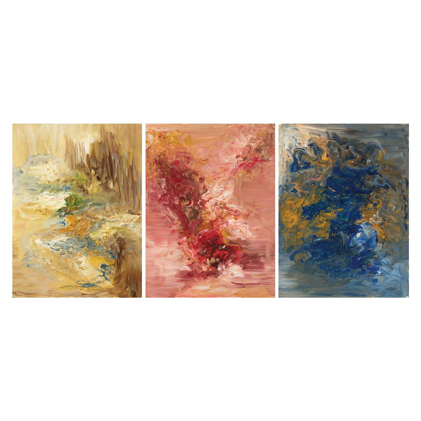 Stejara I. Dinulescu - Landscape-Flesh-Blue (Triptych)
